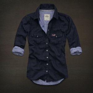 Hollister Navy Button Up Shirt